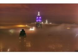 攝影,市容,城市的,市,薄霧,建造,摩天大樓,紐約市,帝國大廈,景觀3