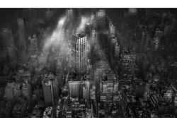景觀,市容,單色,紐約市,建筑,城市的,都會,薄霧,摩天大樓,建造,燈