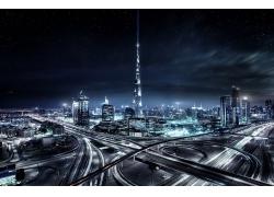 景觀,市容,摩天大樓,建筑,城市的,迪拜,星夜,燈火,薄霧,高速公路,