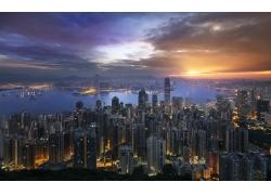 景觀,市容,摩天大樓,建造,燈火,灣,碼頭,香港,海,山,云,城市的,建
