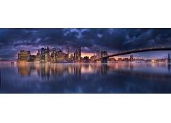 景觀,市容,摩天大樓,橋,燈火,云,曼哈頓,紐約市,晚間,建筑,水,全