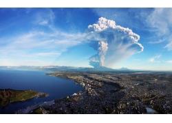 景觀,市容,海,抽煙,灰,智利,Calbuco火山,蒙特港,水,火山322341