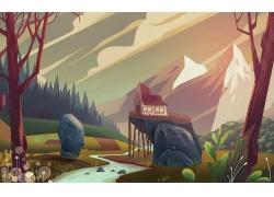 插图,景观,山,雪,屋,日落,树屋458279