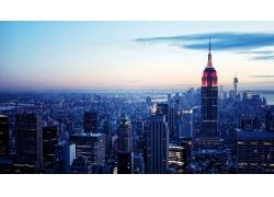 紐約市,曼哈頓,建造,帝國大廈,美國,公寓,市,景觀,建筑,云,世界貿