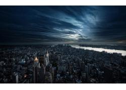 市,城市的,市容,摩天大樓,灰蒙蒙,河,日落,景觀,云,紐約市230859