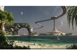 数字艺术,幻想艺术,景观,妇女,海,砂,海滩,岩,棕榈树,未来,行星,