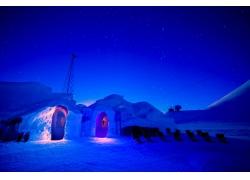 摄影,景观,雪屋,雪,晚,冷,明星,天空574082