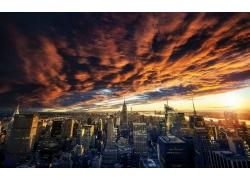 景觀,云,日落,紐約市,市容,摩天大樓,建筑,城市的,天空,建造27761