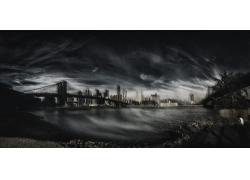 景觀,攝影,全景,紐約市,布魯克林大橋,河,單色,摩天大樓,云,建筑2
