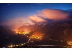 市容,市,晚,燈火,路,山,景觀,云,明星,瑞士244454