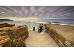 景观,水,岩,圣地亚哥,加州,美国,海,波浪,滨,海滩,砂,云,棕榈树,