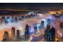 市容,摩天大樓,薄霧,燈火,建筑,城市的,景觀,迪拜,建造,現代,晚,