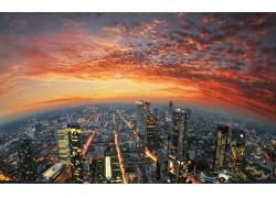 市容,法蘭克福,德國,日落,華美,燈火,天空,云,摩天大樓,建筑,景觀
