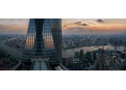 攝影,景觀,市容,全景,日落,摩天大樓,鋼,玻璃,建造,河,鳥瞰圖,建