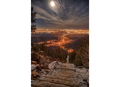 景觀,云,肖像顯示,科羅拉多州,市容,美國,城市的燈光,樹木,晚間,