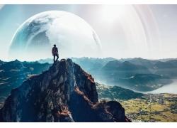 景觀,行星,男人,幻想藝術,山,數字藝術,瓦迪姆薩多夫斯基,照片處