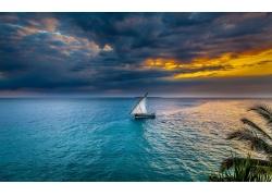 日落,海,天空,帆船,景观,水,热带,云,非洲258356
