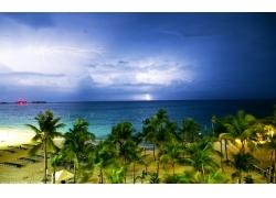 景观,云,闪电,风暴,地平线,巴哈马,热带,棕榈树,海,海滩,有风,砂,