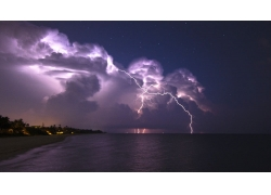 景观,云,闪电,风暴,地平线,海,晚间,棕榈树,海滩,砂,热带,明星,滨