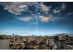 市容,云,天空,建筑,建造,市,燈火,市中心,黃昏,晚間,景觀,現代573