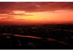 攝影,景觀,市容,日落,云,河,中國,燈火,屋,建筑,橋,丘陵,建造,路,