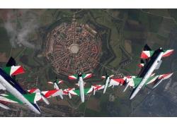 意大利,景觀,市,屋,建造,金棕櫚,空軍,Frecce Tricolori323846