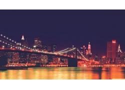 紐約市,市容,美國,晚,布魯克林大橋,景觀554912