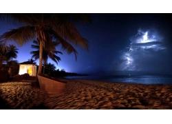 摄影,景观,棕榈树,海滩,海,砂,风暴,闪电,鸡尾酒,波多黎各,晚4454