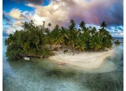 摄影,景观,岛,彩虹,棕榈树,海滩,砂,热带,船,海,云,夏季,法属波利
