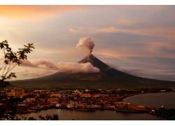 建造,市容,火山,景觀,噴發,抽煙,云,菲律賓,巖漿,樹葉627550