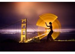 長時間曝光,燈火,光繪畫,晚,景觀,金門大橋,橋,舊金山,美國,海,市