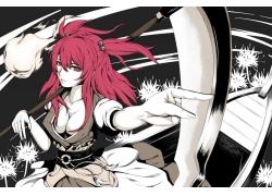 动漫,东方,Onozuka Komachi,红发,红眼睛,动漫女孩,胸部29672