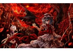 动漫,东方,Remilia猩红色,Izayoi Sakuya,动漫,动漫女孩2407