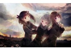 动漫,Sora no Woto,动漫,Kannagi Noel,Suminoya Kureha,动漫女孩