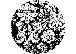 黑白花朵圆形背景