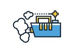 轮船烟雾图标