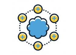 十字圆形云朵图标