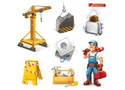 建筑工人和工具