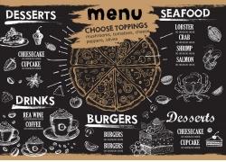 螃蟹咖啡杯图标餐厅菜单