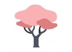 红色云朵树
