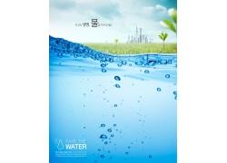 草地大楼水珠环境环保公益海报
