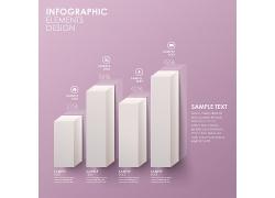 白色立体柱形图表