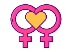 性別符號愛心圖標