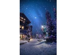 冬天圣诞节雪花房屋