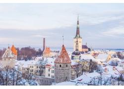 冬天雪花欧式建筑