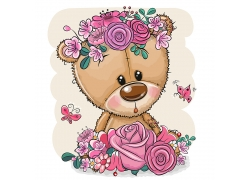 玩具熊与鲜花