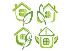 矢量绿色房子图标