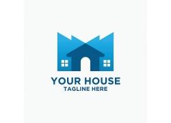 蓝色房子标志设计