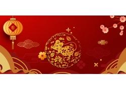 灯笼花朵鼠年横幅海报