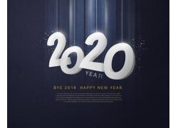 2020白色数字海报设计